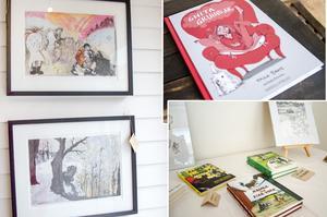 I sockenstugan i Fellingsbro hittar man Ida Rosén Branzells konst, tidigare böcker som hon illustrerat och även den nyaste boken Ghita grubblar