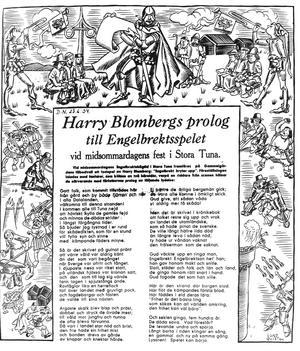 Harry Blombergs spel vid Engelbrektsjubiléet 1934 .