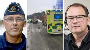 Stefan Westerlund, gruppchef för trafikpolisen i Västernorrland och Örjan Stenlund vid räddningstjänsten manar till försiktighet i trafiken. Montage.
