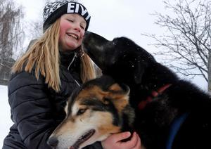 Emilia Groth klappade om hundarna mellan loppen.Foto: Niklas Andersson
