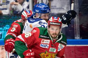 Mathias Bromé i en av alla matcher med Mora mot Leksand. Bild: Daniel Eriksson/Bildbyrån