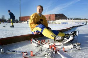 Göran Rosendahl i samband med en landslagsträning inför VM 2001. Totalt spelade han över 100 A-landskamper. FOTO: Jessica Gow/Scanpix