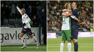 Theo jublar efter ett av sina mål i Gefletröjan. Sen lämnade han för Hammarby och kramades med Zlatan istället.