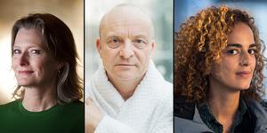 Jennifer Egan, Jonas Gardell och Leila Slimani är alla tre nominerade till Årets bok. (Bilden är ett montage)