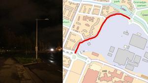 Den rödmarkerade sträckan visar var gatubelysningen är trasig. (Karta Örebro kommun, montage NA)