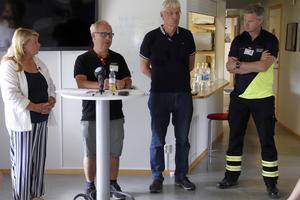 Isabella Engblom ledde pressinformationen med landshövding Per Bill, Sture Karlsson, vd Mellanskog samt Robert Nilsson restskadeledare.