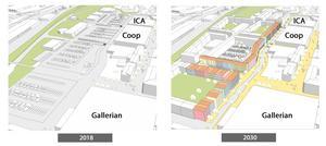 Utdrag ur den visionära stadsplanen.