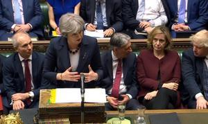 Theresa  May i brittiska parlamentet på onsdagen. Foto: TT/PA via AP
