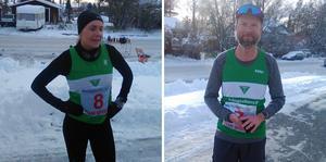 Åsa Wiklund vann damklassen på tangerat personbästa och Lars Svensson, Trångsviken, slutade som 9:e man med 3.29.55. Han var den ende som sprang med kortbyxor i den 5-gradiga kylan. Foto: Johan Norberg