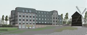 Bolaget Qetar vill bygga hotellet på Torekällberget. Illustration: Kjellander Sjöberg