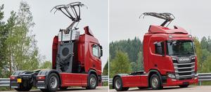 Scanialastbilar som ska elektrifieras av Siemens. Foto: Scania
