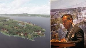 Holländske arkitekten Karel Maessen visade ett bildspel hur det är tänkt att turistcentret på Hälgsnäsudden utanför Grythyttan kan komma att se ut.