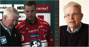 Björn Mårtensson (till höger) är ordförande i Edsbyns bandyvänner.