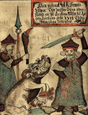 Guden Tyr mister sin hand när han fjättrar besten Fenrisuvlen. En isländsk illustration från 1500-talet.