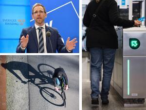 Jakob Forssmed (KD) resonerar kring cykling kontra kollektivtrafik. Foto: TT