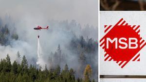 Helikoptrar från flera länder hjälper till i släckningsarbetet. Bild: TT
