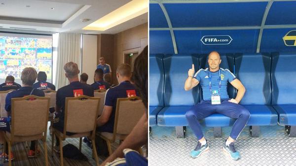 Taktikgenomgång med Peter Wettergren och en laddad Johan Allgulander inför mötet med Schweiz.