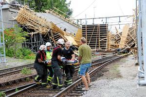 Flera personer skadades i den stora broolyckan vid Kajvägen i Ludvika. Olyckan inträffade på eftermiddagen den 13 juli när formställningen vid bron rasade.Foto: Boo Ericsson/Arkiv