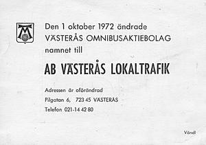 Västerås omnibusaktiebolag 1972.