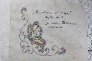 Till och med signaturen på baksidan av konstverken är små konstverk i sig.