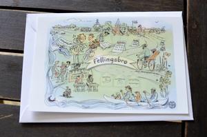 Ida Rosén Branzell har målat kortet från Fellingsbro som också hänger som tavla i sockenstugan.