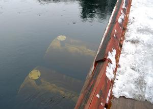 Två av fyra pontoner som ska hålla