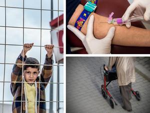 Flyktingmottagning, sjukvård och en åldrande befolkning ger tre utmaningar för framtiden. Foto: AP Photo och TT