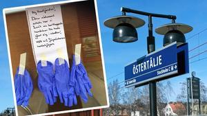 Texten på lappen som skribenten fotograferade i Östertälje lyder: