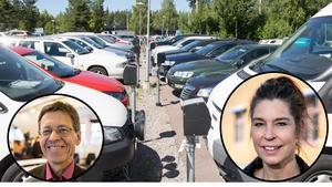 I DT:s valsatning #Kandulova ställdes flera frågor om parkeringsmöjligheterna i centrala Falun. Från vänster: Kenneth Wåhlberg (S) och Veronica Zetterberg (M). Montage.