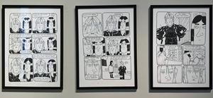 Tre sidor med originalbilder ur serieromanen