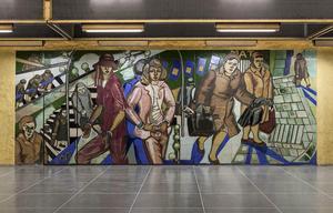 Konstnärlig gestaltning i tunnelbanan.