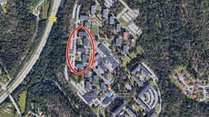 Markarydsbostäder vill omvandla tomma lokaler till lägenheter i Fornhöjden. Foto: Google maps