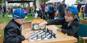 Schacklektion. Johannes Rudwall (till höger) lär Liam Samuelsson schack. Liam säger att han hellre kör cross.