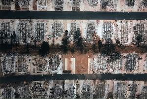 Efter branden. Bara metallskrot återstår av  de mobila hus som stod i Ridgewood Mobile Home Park i Kalifornien. Foto: Peter Hoelstad