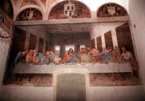 Den sista måltiden, Leonardo Da Vincis målning av Jesus sista måltid tillsammans med sina lärjungar har central betydelse inför påsken. Foto: AP Photo/Antonio Calanni