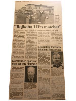 Kyrkans män motsatte sig att Leksands IF:s spritservice i gamla isstadion. Faksimil från Falu-Kuriren i oktober 1995.