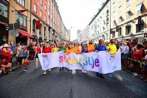 Så här såg det ut när Södertälje kommun deltog i Europride i Stockholm i år. Foto: Pontus Orre