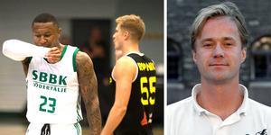 Foto: Jacob Sjölin / Bertil Ericson, TT.  Basketförbundets tävlingsansvarige Olle Lundén (till höger) berättar om resultatmissen i Kings-förlusten.