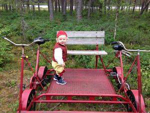 Henriks brorsbarn Vilmer vill också åka, här på en tandemdressin. Foto: Privat