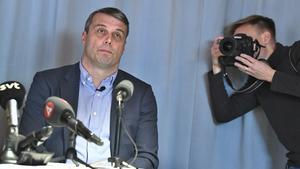 Daniel Kindberg höll presskonferens efter att domen tillkännagetts.  Claudio Bresciani/TT