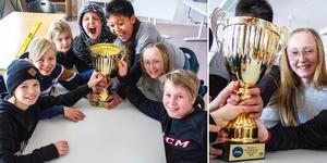 De lyckliga vinnarna i Vi i femmans länsfinal blev Sörängs skola från Bollnäs. Här med vinnarpokalen.