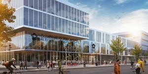 Så här väntas Borlänges nya campus/högskoleområde i affärshuset Liljan komma att se ut. Skiss från Högskolan Dalarna