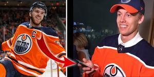 Connor McDavid och Philip Broberg. Foto: Jason Franson/The Canadian Press via AP och Skärmdump/Twitter