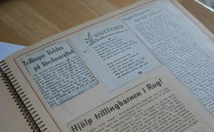 Första artikeln om trillingarna Rogström i Falu Kuriren.