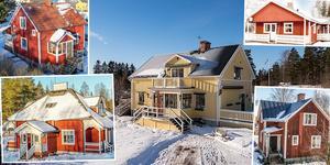 Ett montage med bilder på några av husen som är med på Dalarnas egen Klicktoppen för vecka 8.
