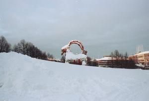 Bocken syntes knappt för all snö. Men det hindrade inte bockbrännaren. Bocken brann den 11 december.