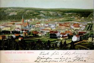 Enkel hälsning på kolorerat vykort. Bildkälla: Sundsvalls museum