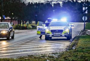 Den misstänkte rattfylleristen förs in i en polisbil.