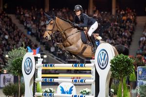 Irma Karlsson och hästen Ida van de Bisschop. Bild: TT Nyhetsbyrån.