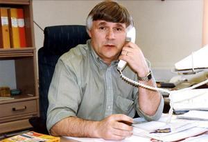 Janne Simons på en bild från 1997 på Moras klubbkansli. Foto: Henrik Schmidt